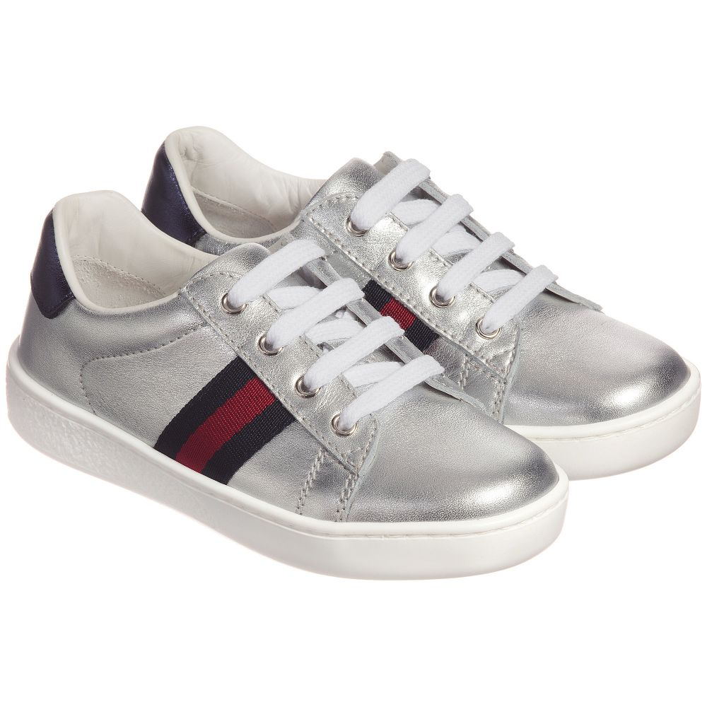 a55574d5a Gucci - Silver Leather Web Trainers | Childrensalon