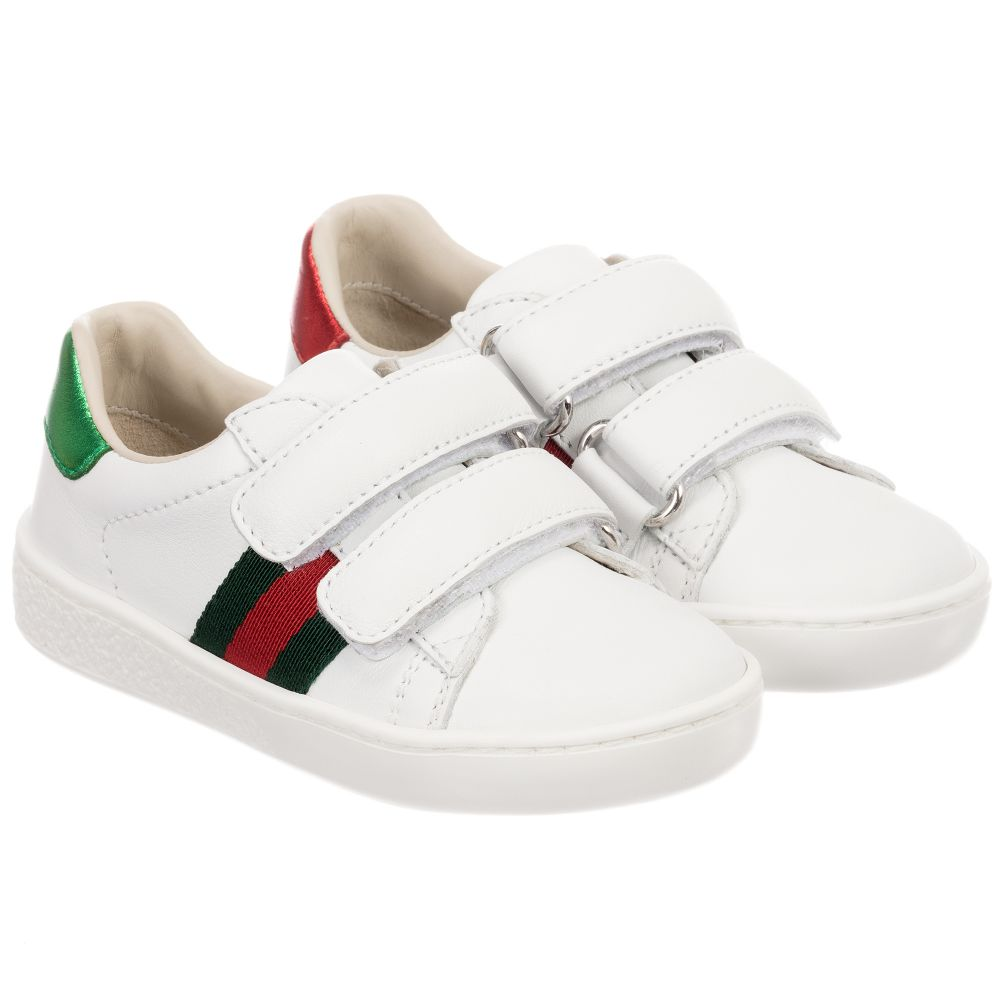 Gucci - White Leather Velcro Trainers