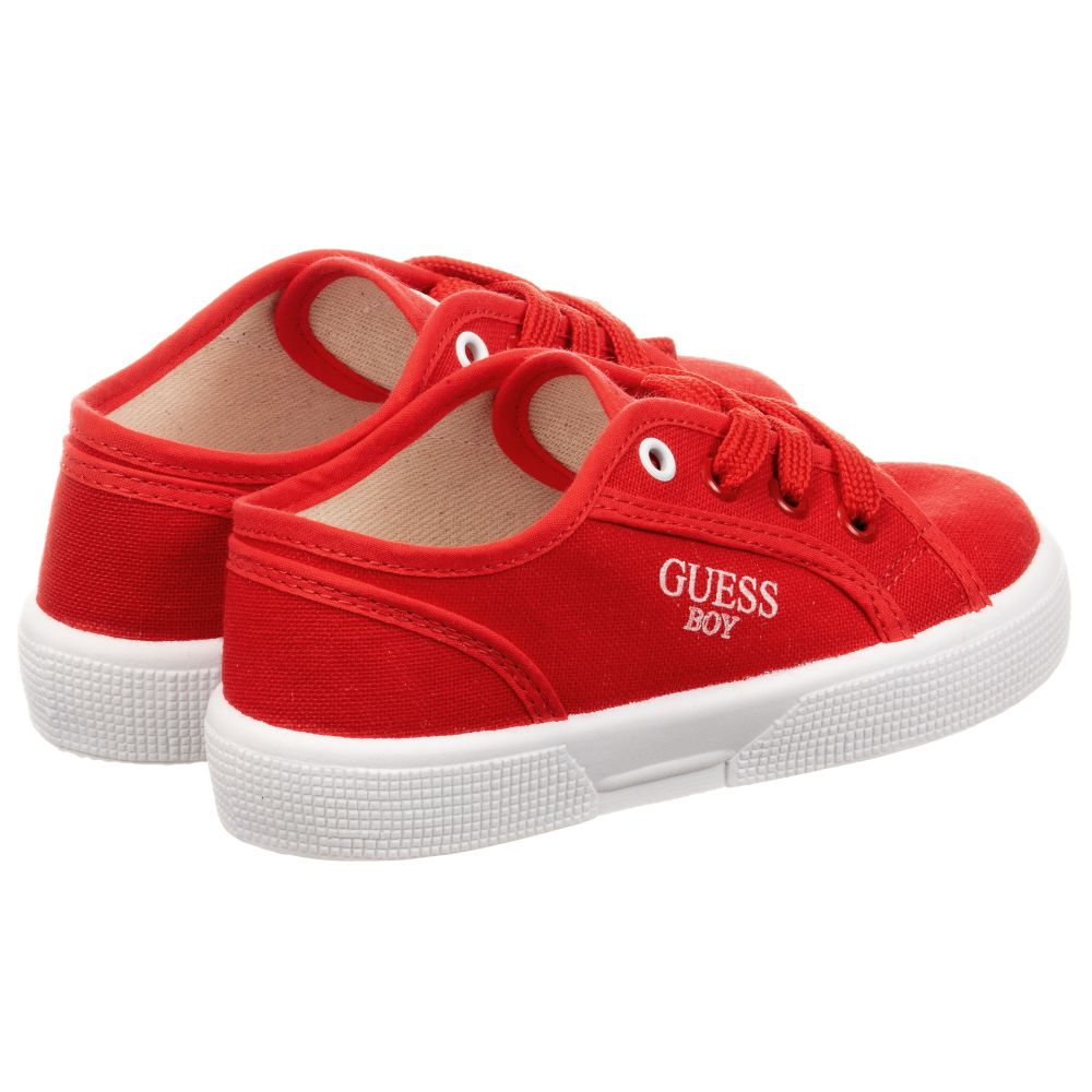 Guess - Boys Red Logo Canvas Trainers