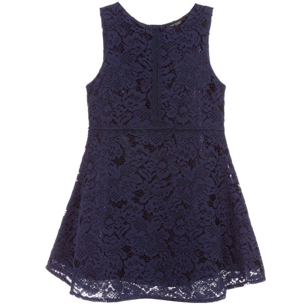 Girls Navy Blue Lace Dress