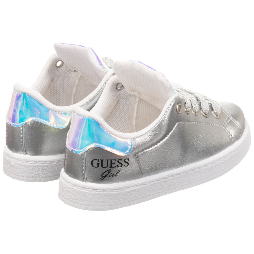 Guess - Metallic Silver Logo Trainers