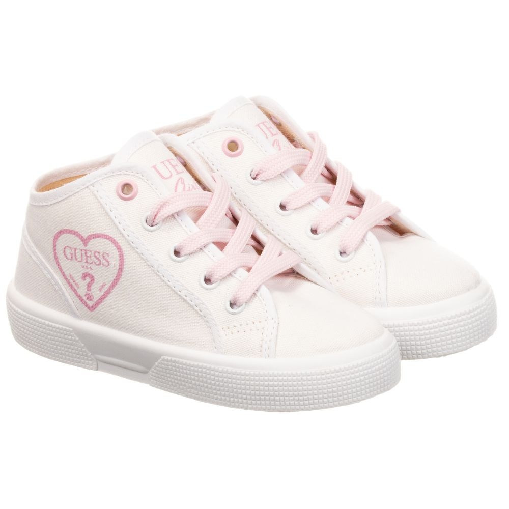 Guess - White Canvas High-Top Trainers