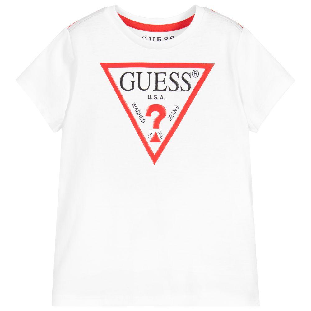 Guess - White Cotton Logo T-Shirt | Childrensalon