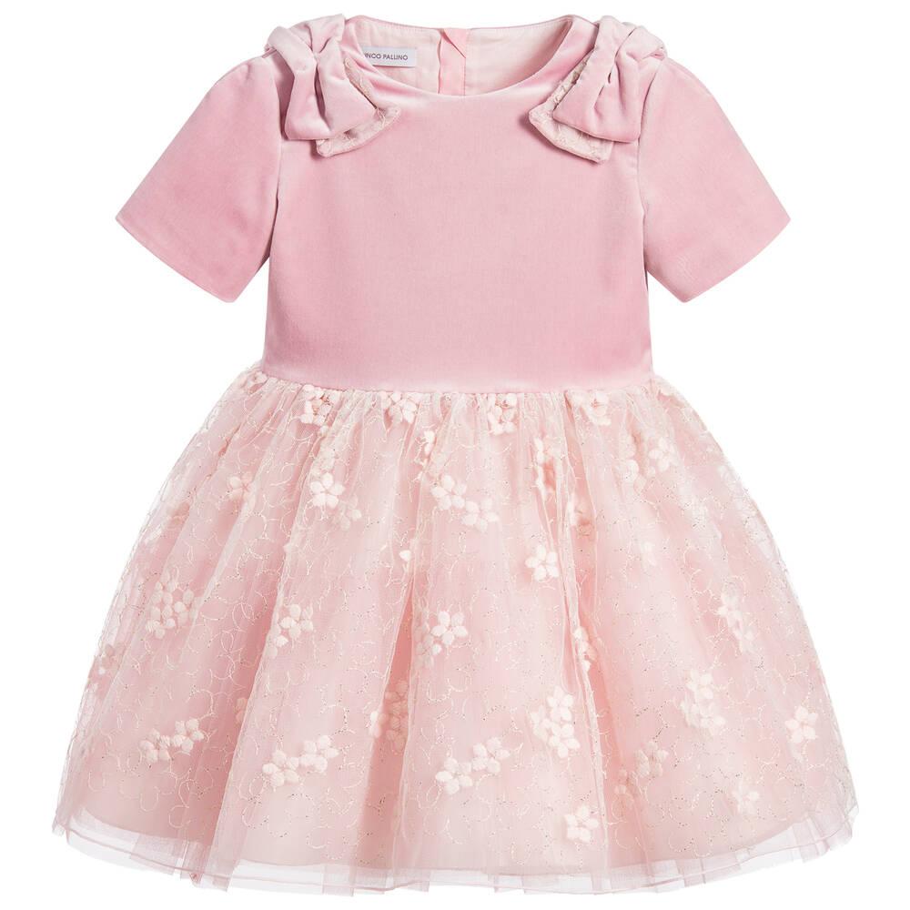 I Pinco Pallino - Girls Pink Velvet & Lace Dress | Childrensalon