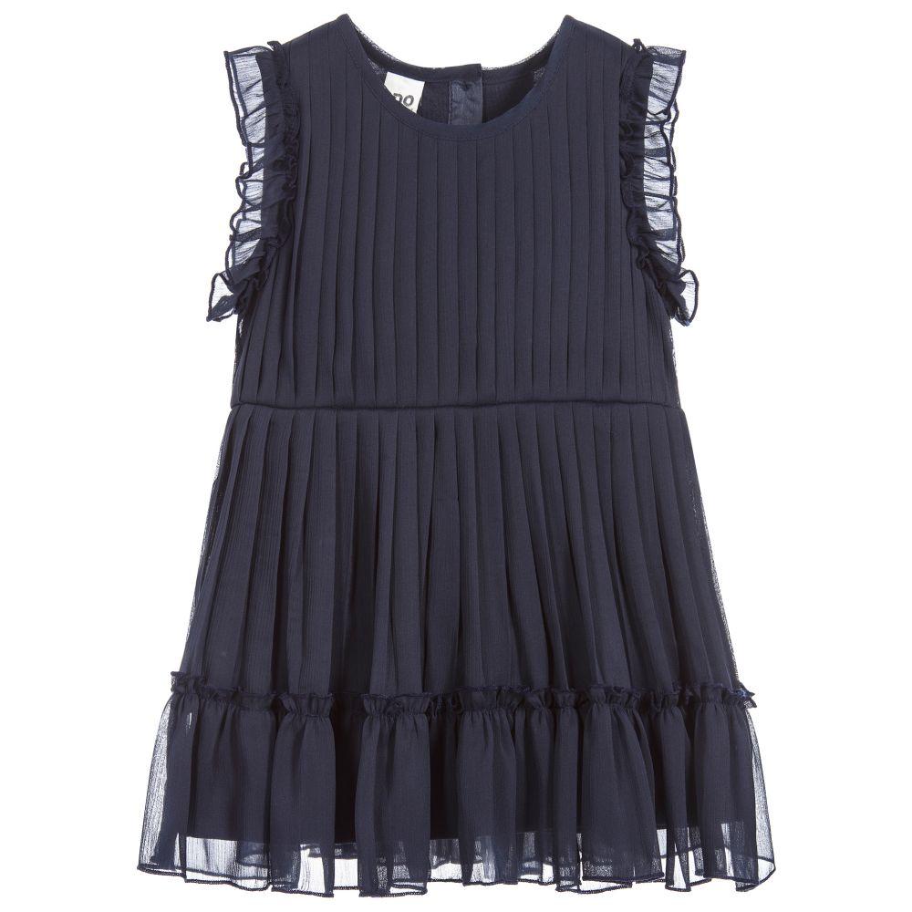 iDO Baby Girls Navy Blue Chiffon Dress