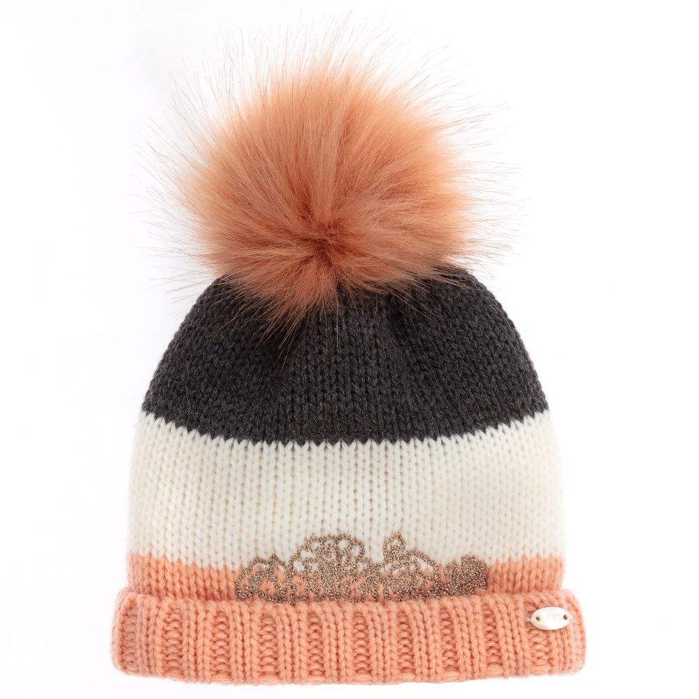 a27fb75eb Girls Pink Knitted Pom-Pom Hat