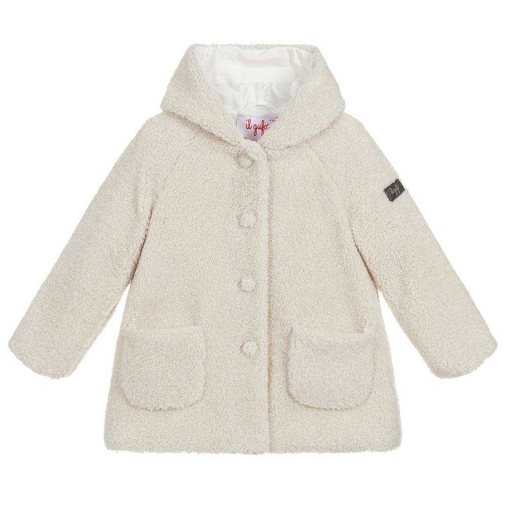 110247430 Il Gufo - Girls Beige Teddy Fleece Coat | Childrensalon