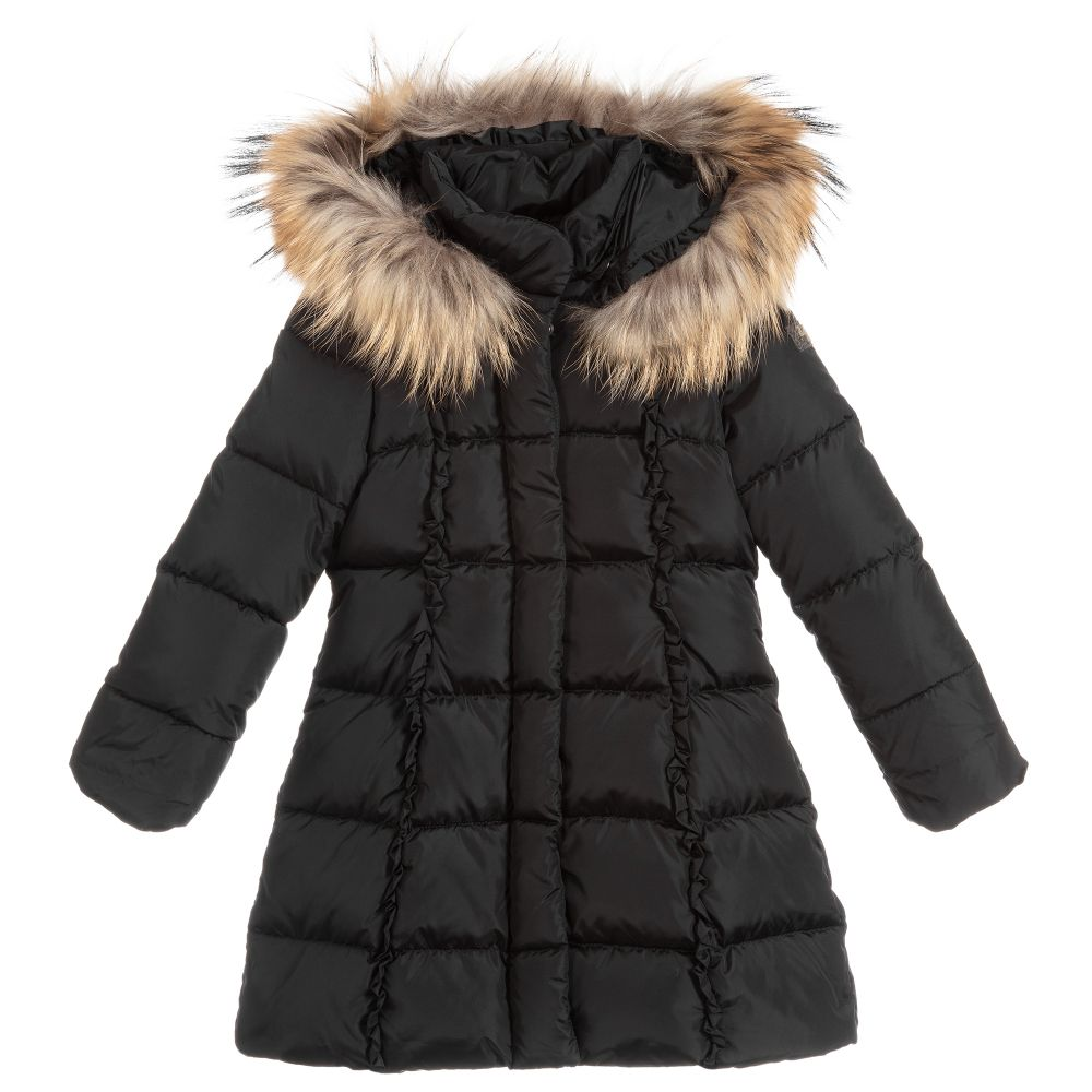 Girls Black Down Padded Coat