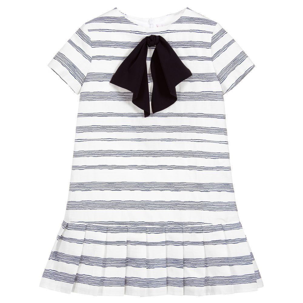 6df3003f9 Il Gufo - Girls Blue Striped Dress | Childrensalon