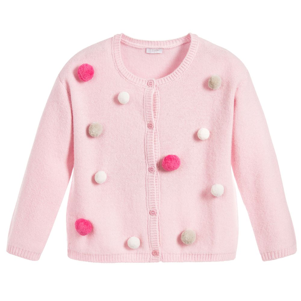Il Gufo - Girls Pink Wool Cardigan | Childrensalon