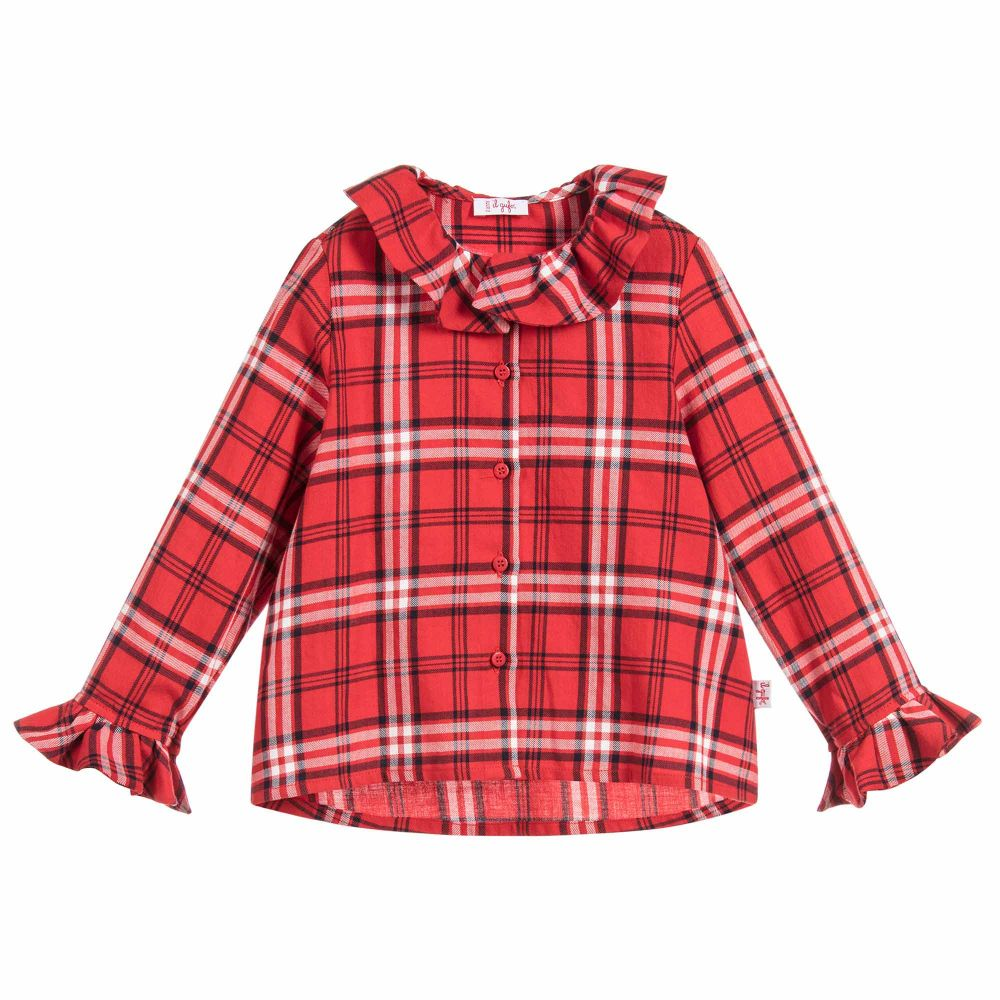 Girls Red Check Cotton Blouse