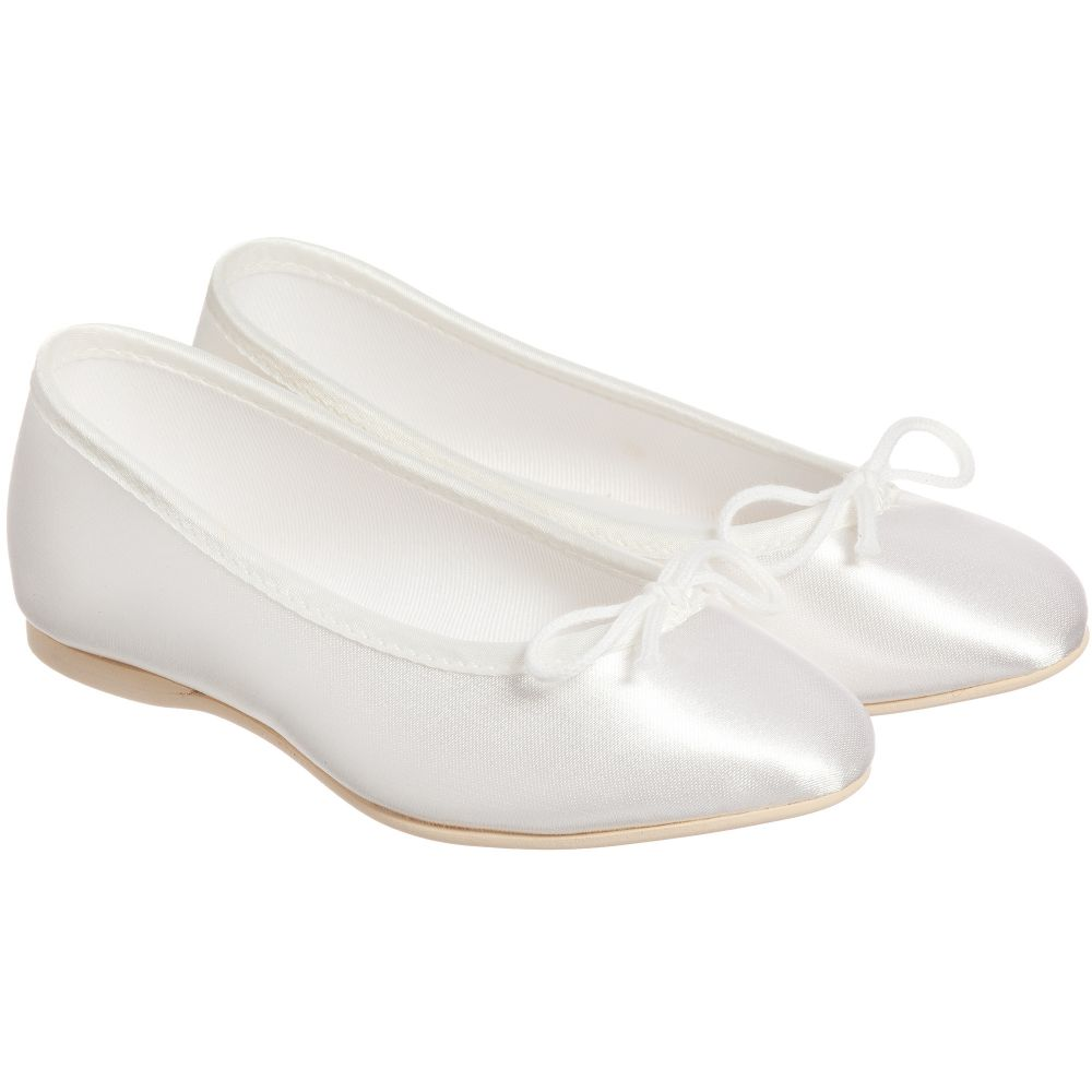 Katz - White Satin Occasion Shoes  | Childrensalon