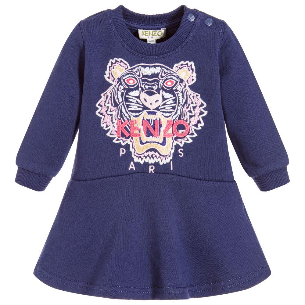 Kenzo Kids - Baby Girls Blue Tiger Dress  9c0853ea9554