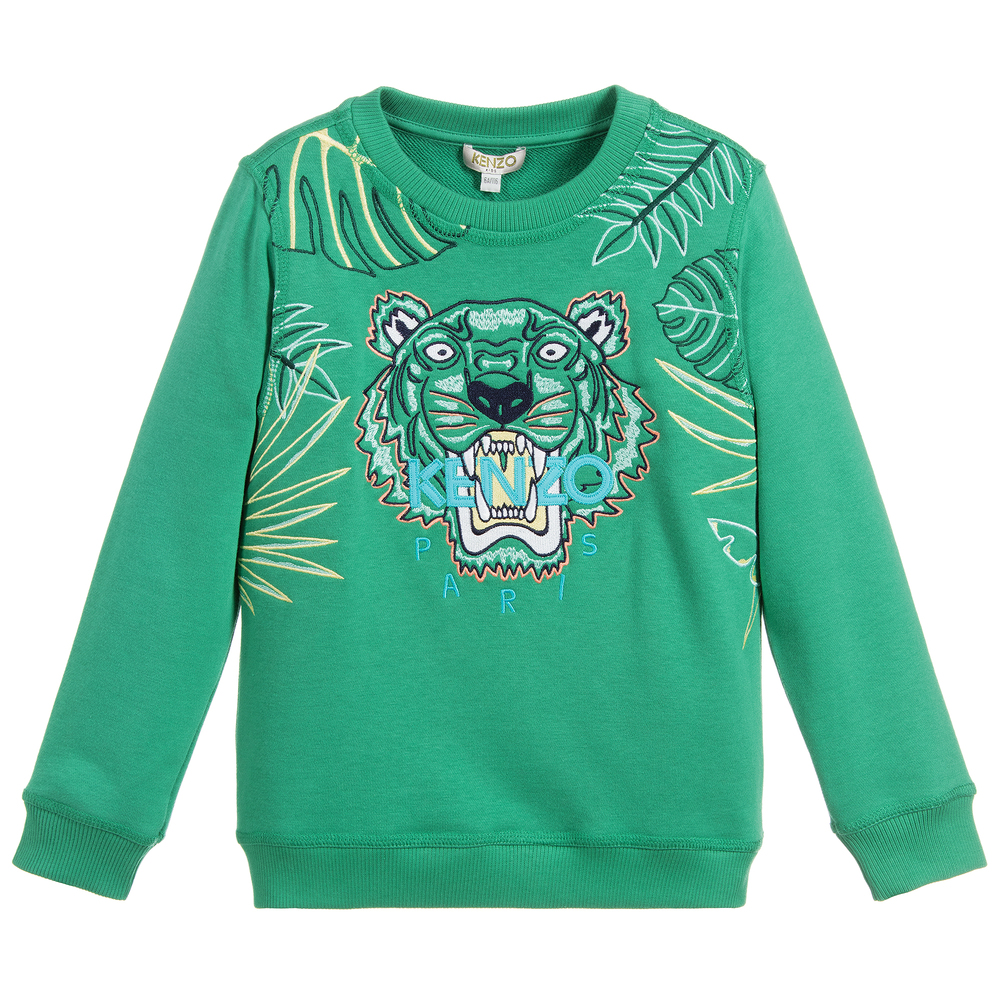 e10a11729 Kenzo Kids - Boys Green TIGER Sweatshirt | Childrensalon