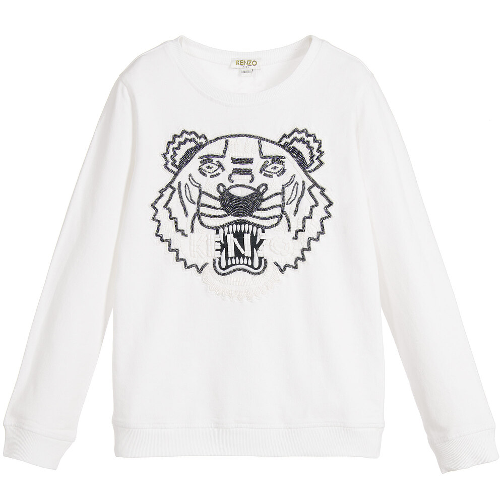 ae722688 Kenzo Kids - Girls White Beaded 'Tiger' Sweatshirt | Childrensalon