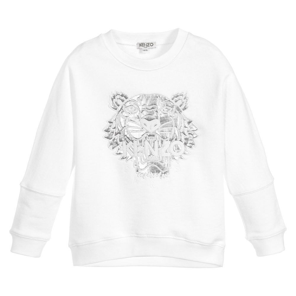 6783e47ba Kenzo Kids - Girls White Tiger Sweatshirt | Childrensalon