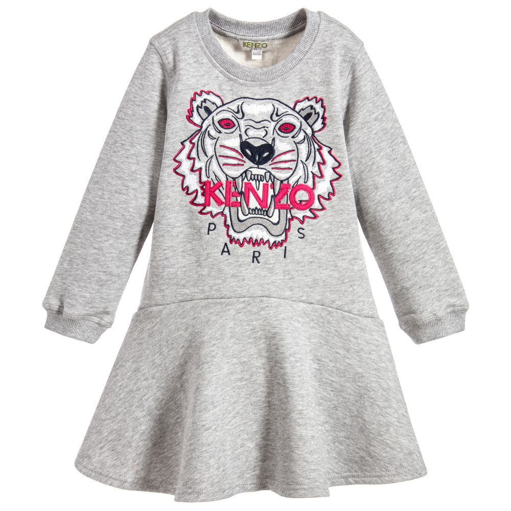 01864a67 Kenzo Kids - Grey Tiger Sweatshirt Dress | Childrensalon