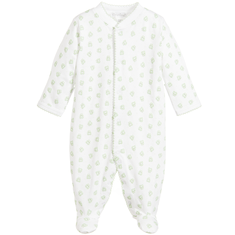Kissy Kissy - 'Frog' White Pima Cotton Babygrow | Childrensalon