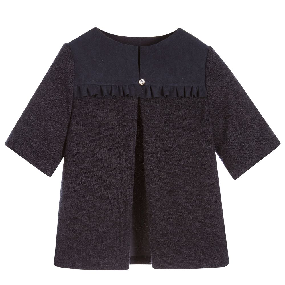La Stupenderia - Girls Blue Knitted Cardigan | Childrensalon