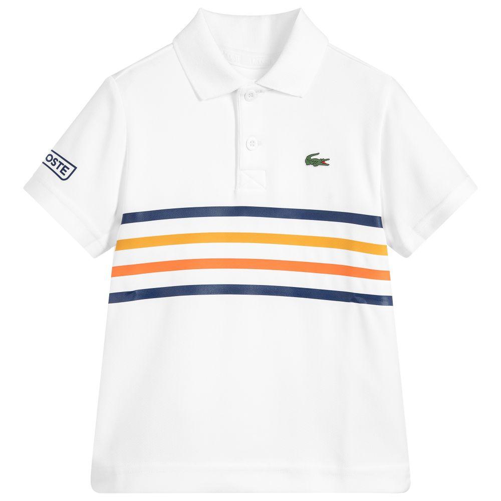 Lacoste Boys White Polo Shirt Uv50 Childrensalon