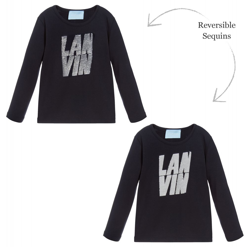 Lanvin - Girls Blue Sequin Logo Top | Childrensalon