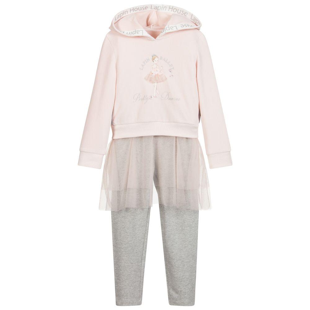 Glittery Logo Set: Lapin House - Pink & Grey Leggings Set