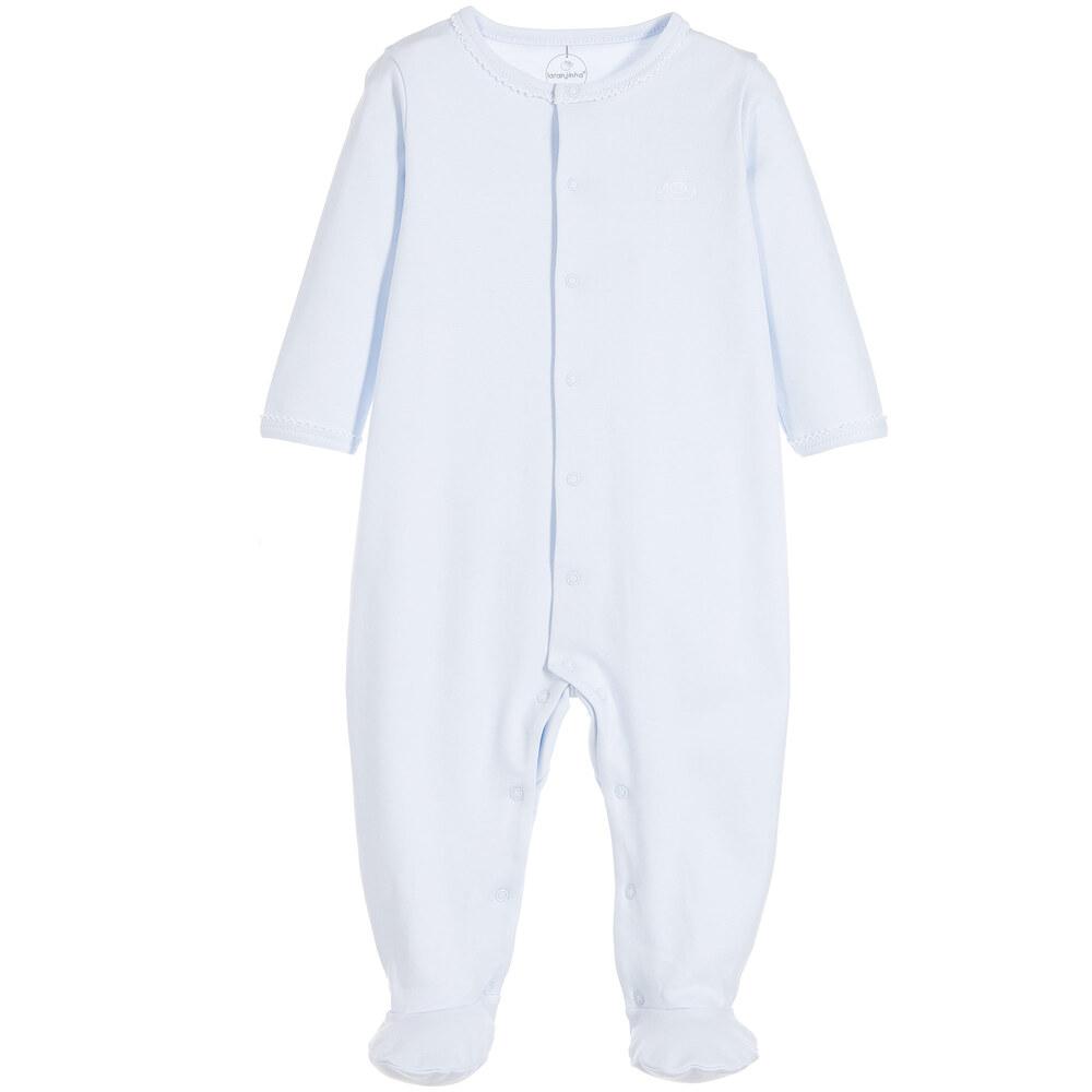 Laranjinha - Blue Cotton Jersey Babygrow | Childrensalon