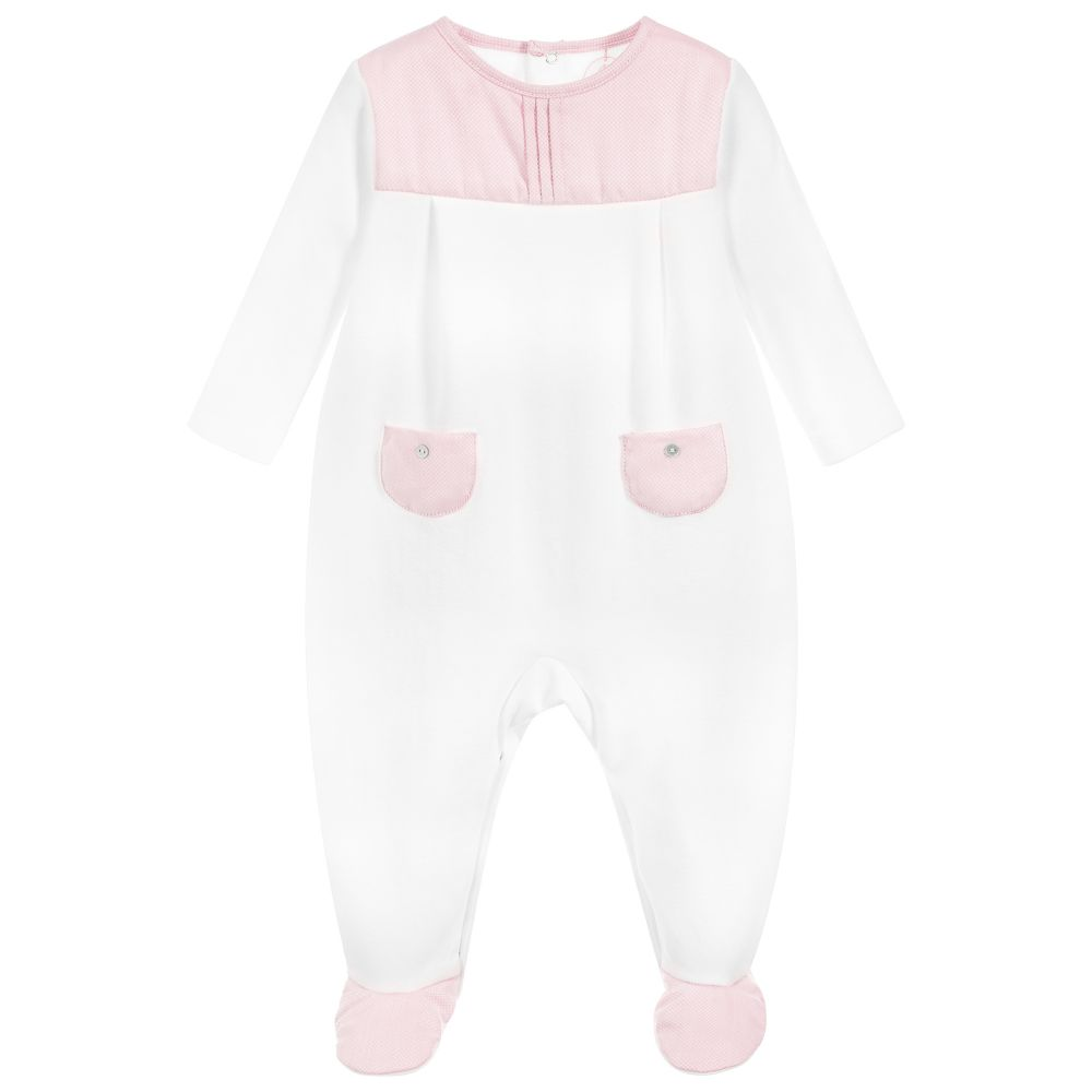 Laranjinha - Girls White & Pink Babygrow | Childrensalon