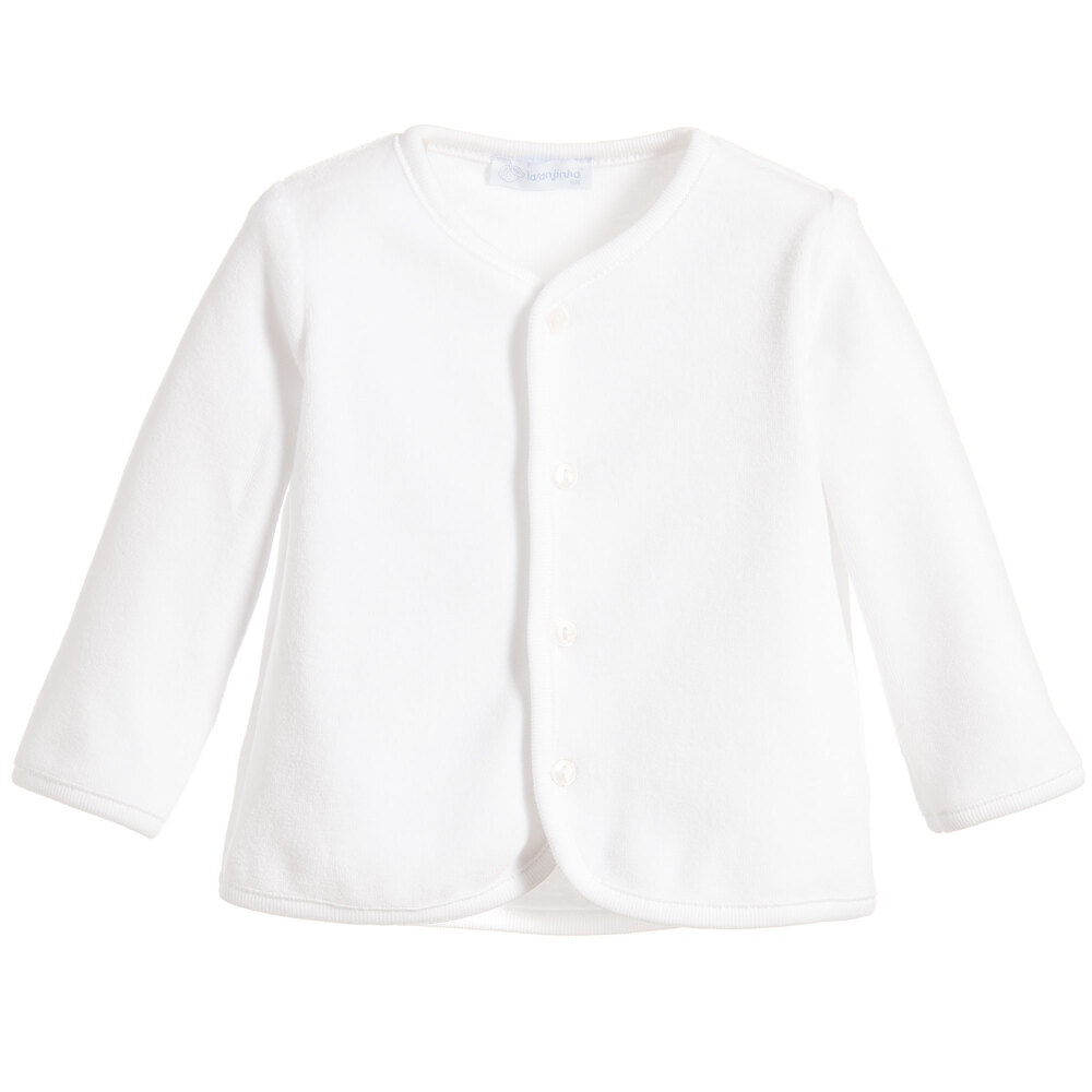 Laranjinha - White Velour Baby Cardigan | Childrensalon