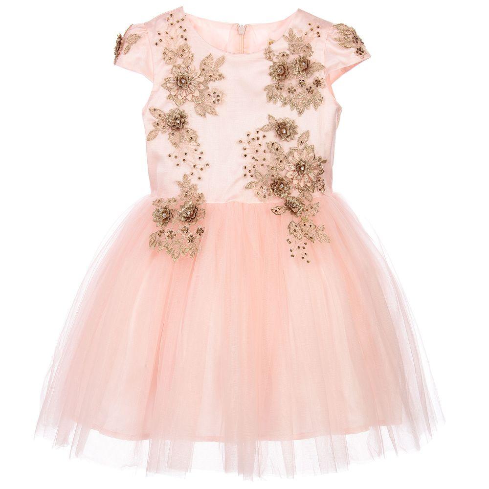 Le Mu - Girls Pink & Gold Tulle Dress | Childrensalon