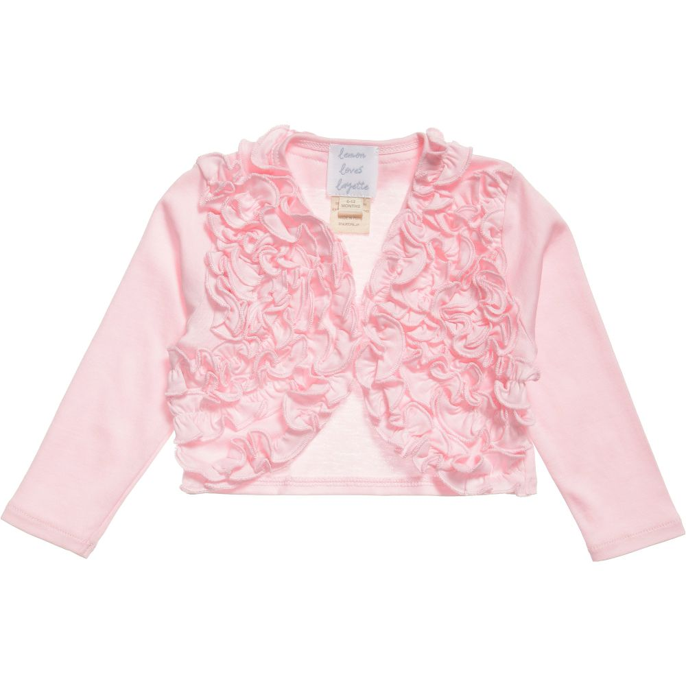 Lemon Loves Layette - Baby Girls Pale Pink Pima Cotton 'Emma' Cardigan | Childrensalon