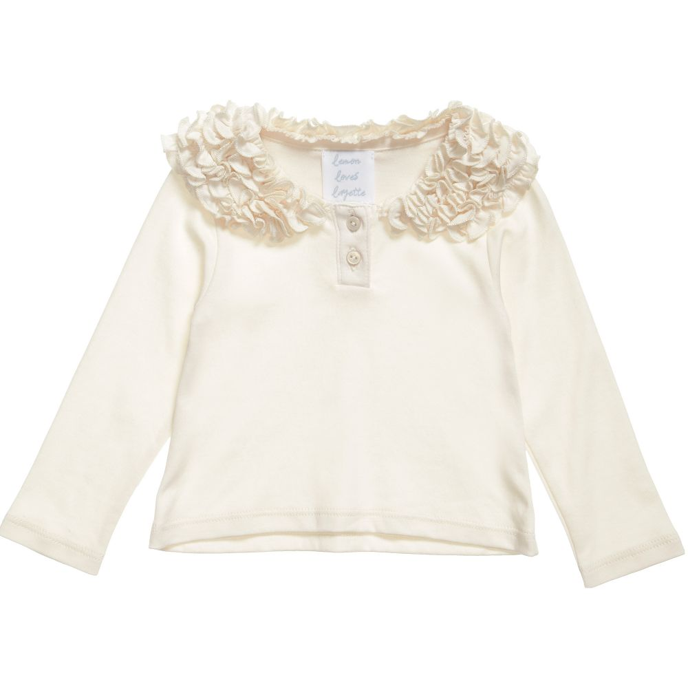 Lemon Loves Layette - Girls Ivory 'Coco Tee' Top | Childrensalon