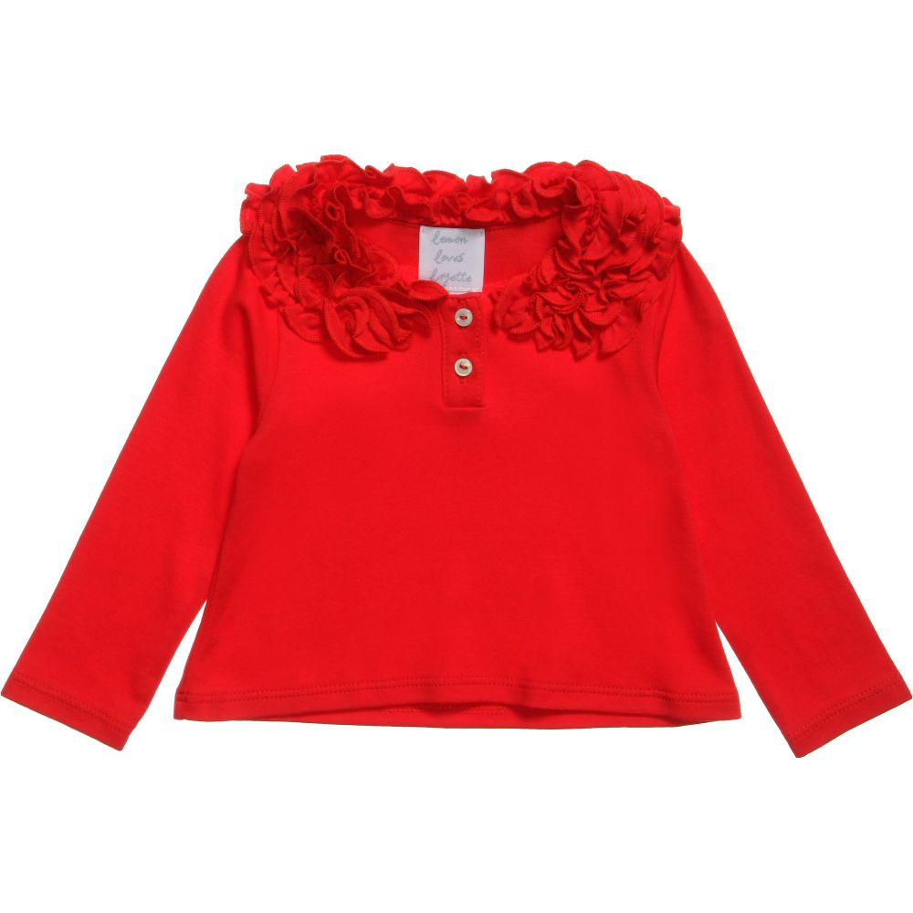 Lemon Loves Layette - Girls Red 'Coco Tee' Top | Childrensalon