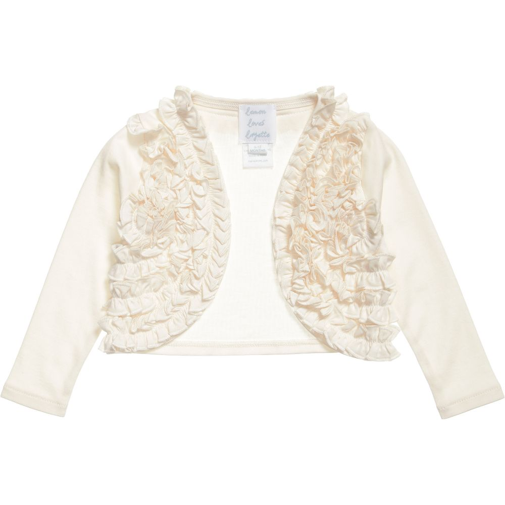 Lemon Loves Layette - Ivory Pima Cotton 'Emma' Cardigan | Childrensalon