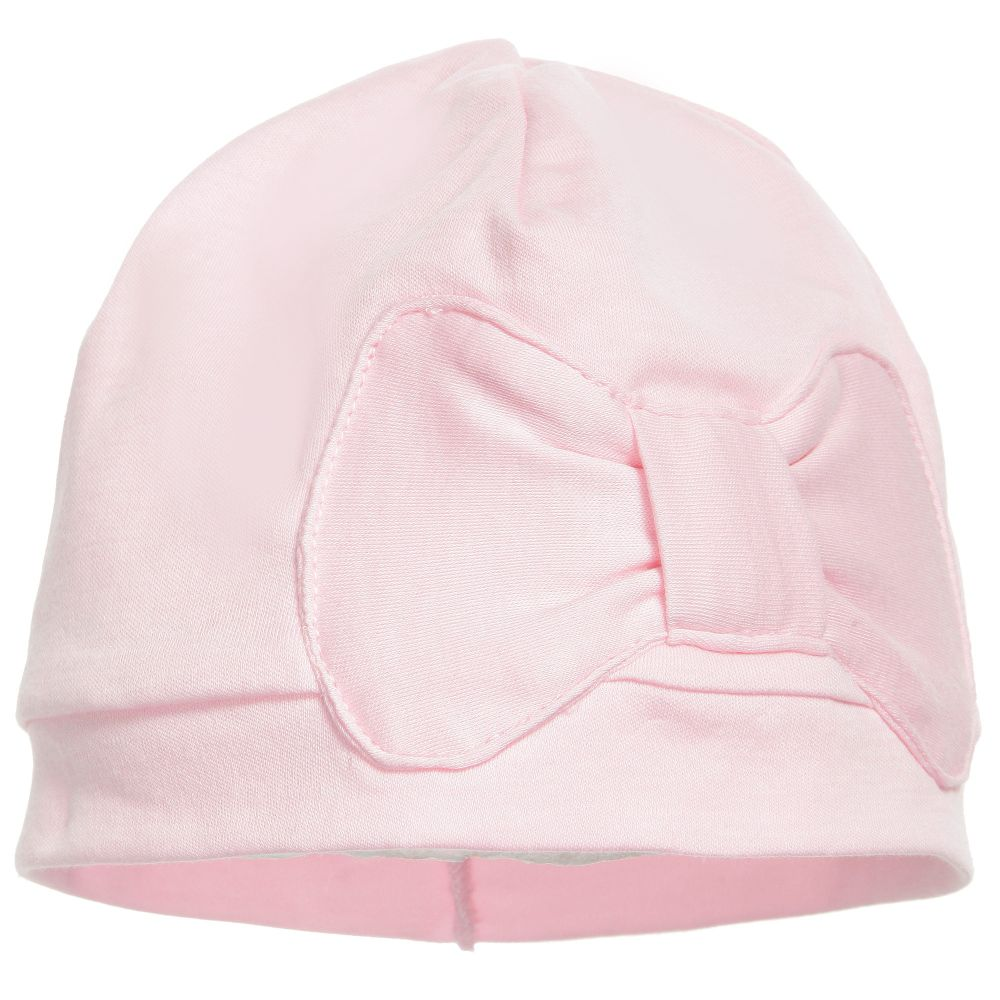 Lemon Loves Layette - Pale Pink Pima Cotton 'Petit Bow' Hat | Childrensalon