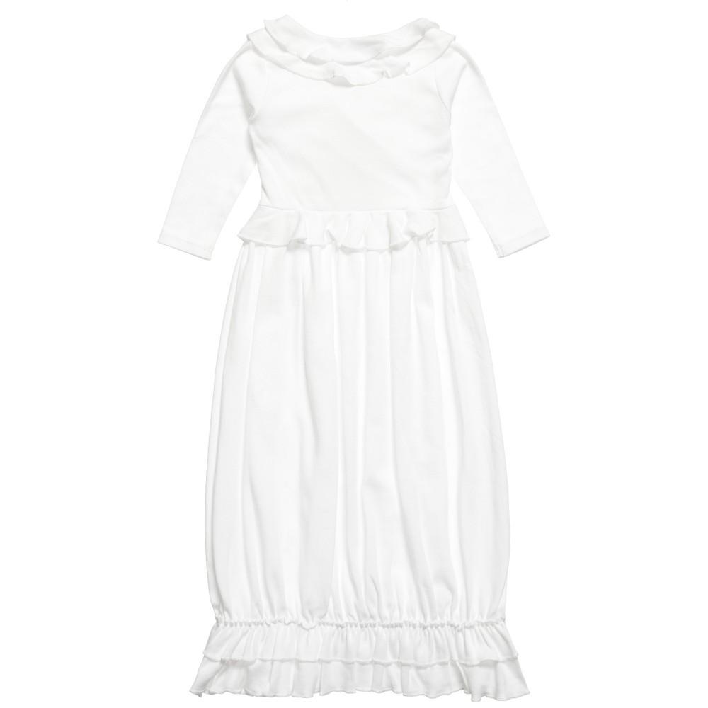 Lemon Loves Layette - White Pima Cotton \'Jenna\' Day Gown   Childrensalon