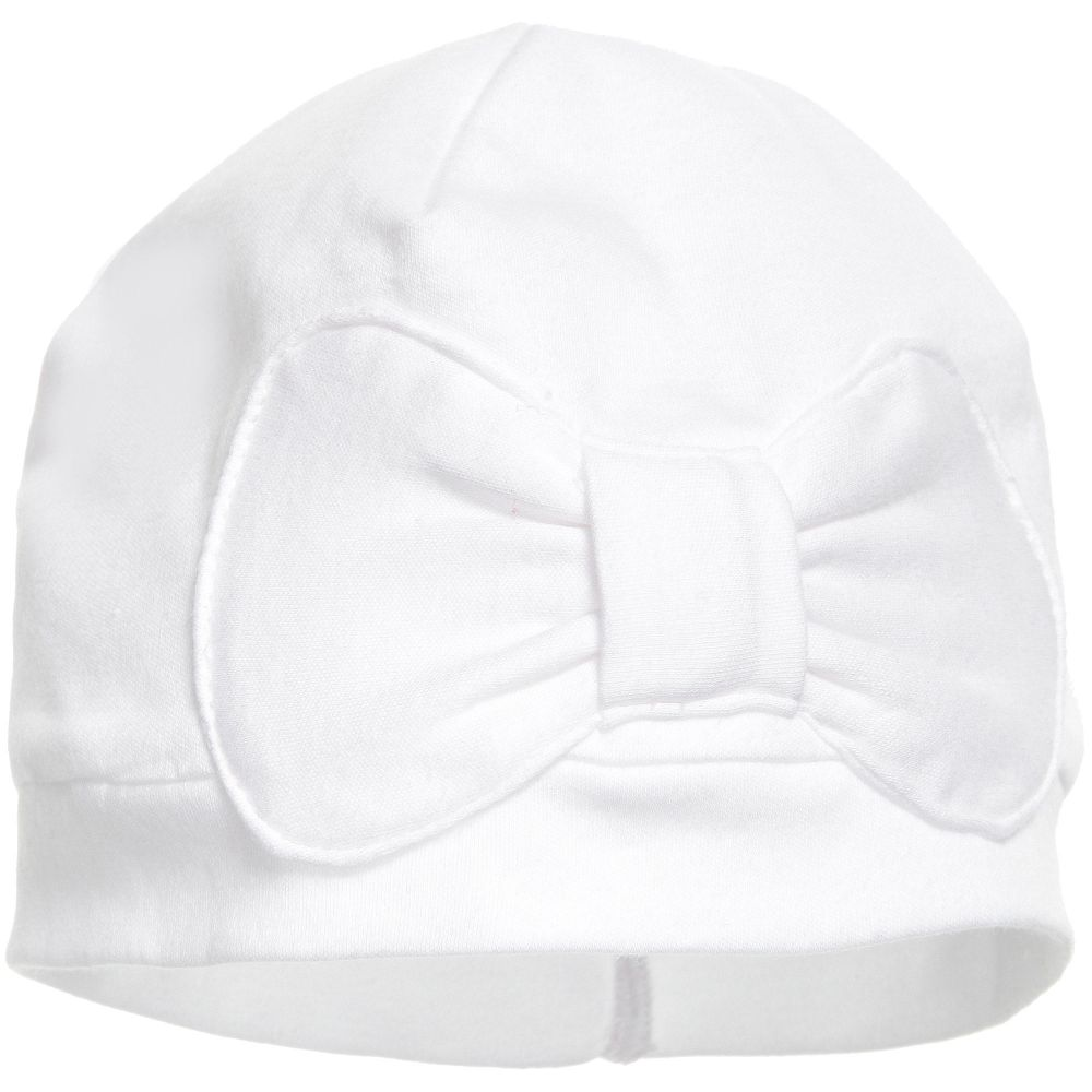 Lemon Loves Layette - White Pima Cotton 'Petit Bow' Hat | Childrensalon