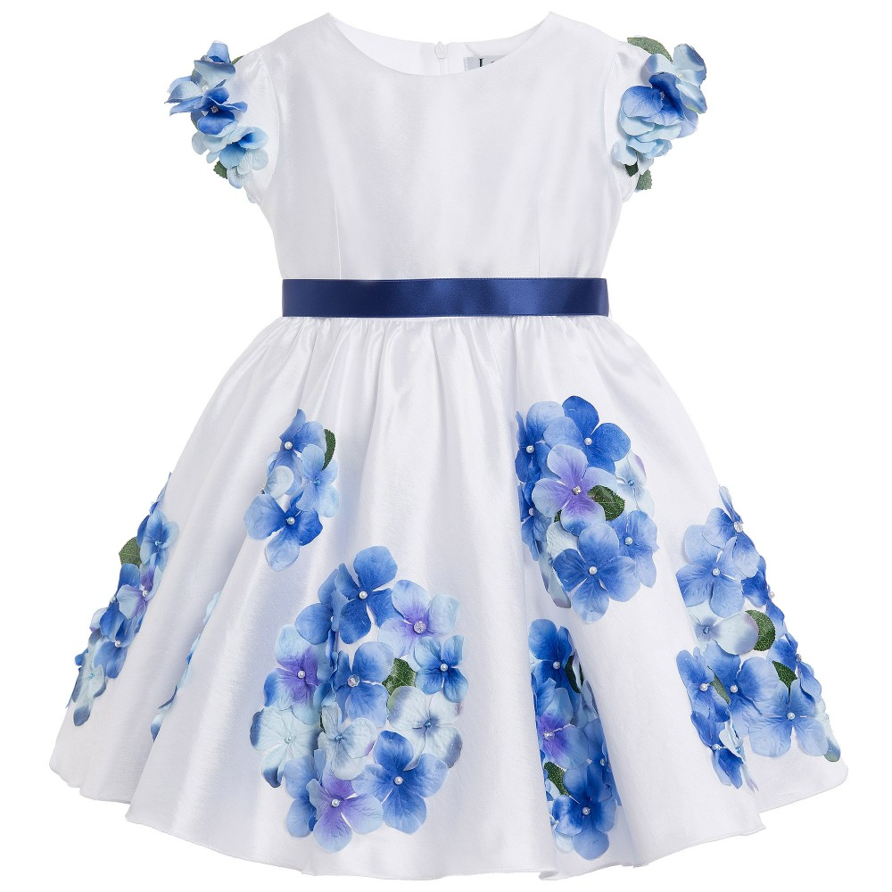 Lesy Luxury Flower - White Satin Dress with Blue Flowers ...