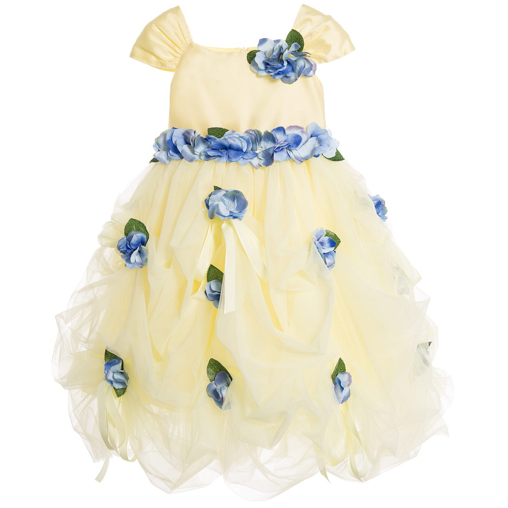 Lesy Luxury Flower Yellow Tulle Dress With Blue Flowers