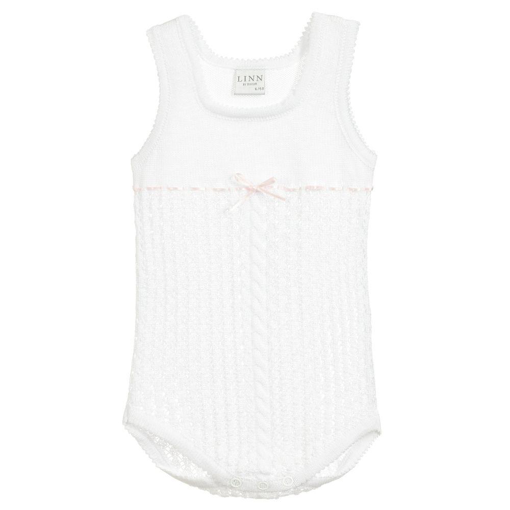 Linn - Baby Girls White Perle Cotton Bodyvest  | Childrensalon