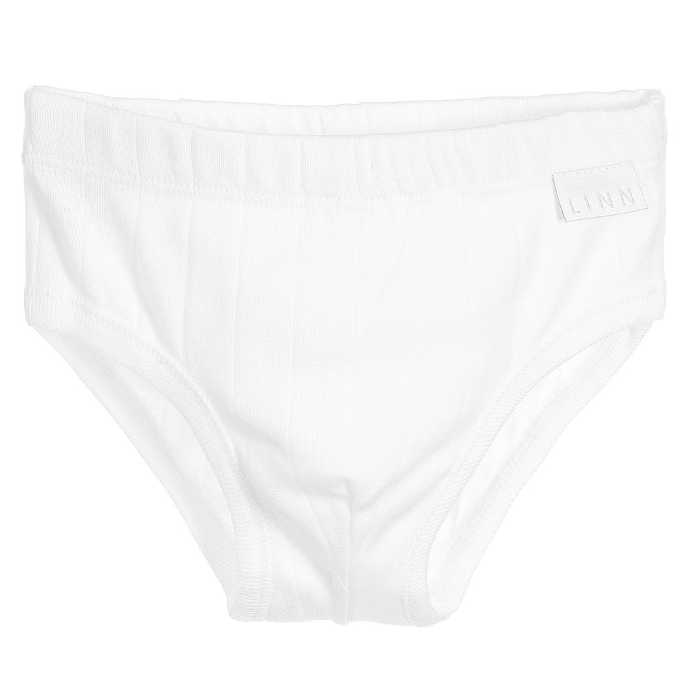 Linn - Boys White Cotton Briefs | Childrensalon