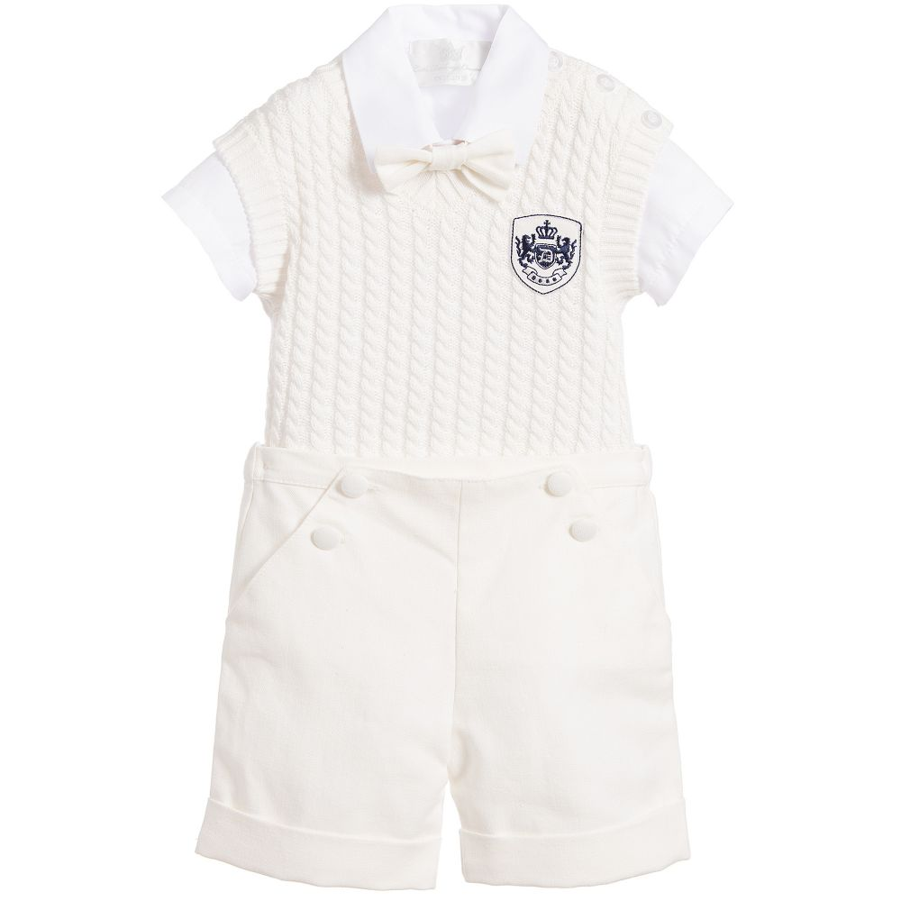 Little Darlings - Boys Ivory 4 Piece Shorts Set | Childrensalon