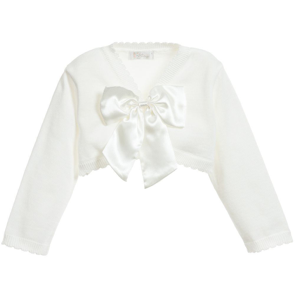 Girls Ivory Cotton Cardigan with Satin Bow