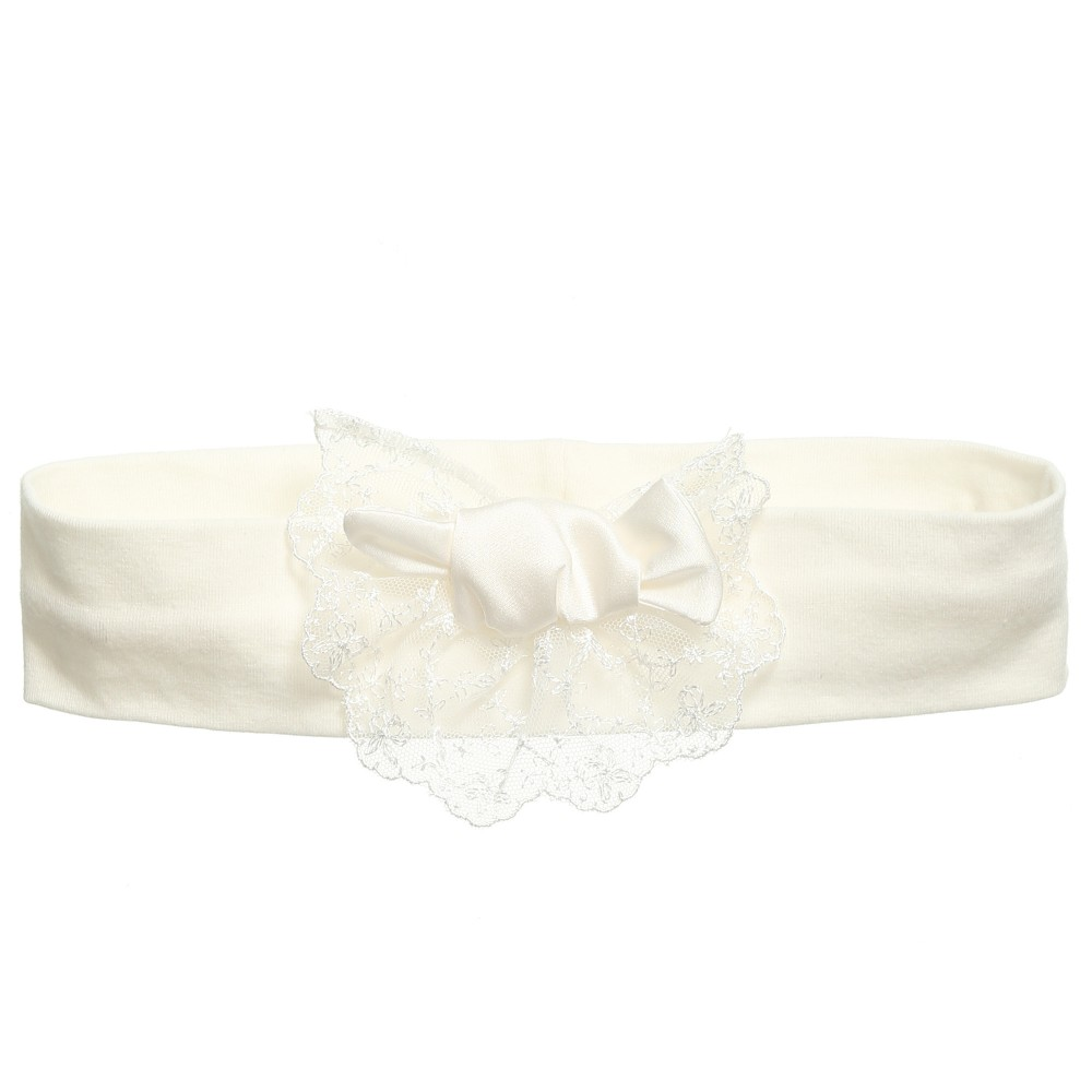 Little Darlings Occasion - Girls Ivory Headband with Lace & Bow | Childrensalon