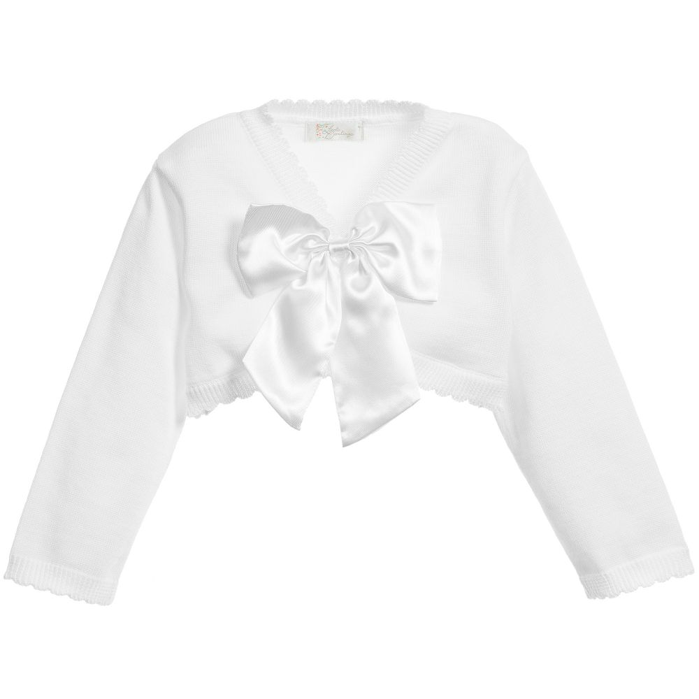Girls White Cotton Cardigan with Satin Bow