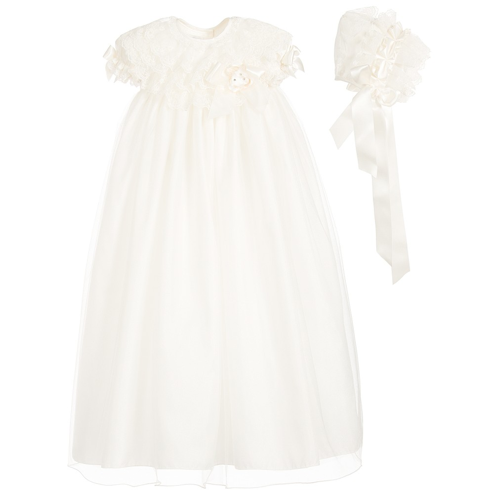 Little Darlings Occasion - Ivory Silk Ceremony Gown & Bonnet | Childrensalon