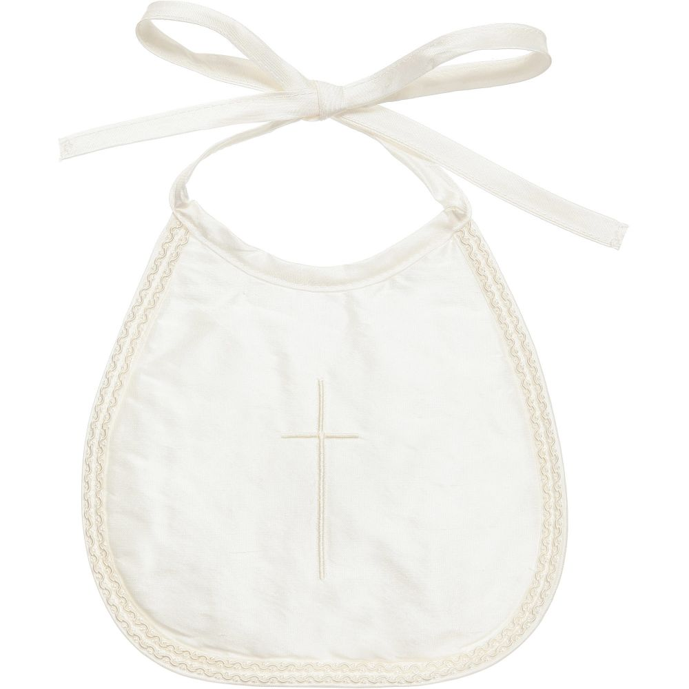 Little Darlings Occasion - Ivory Silk Occasion Bib with Embroidered Cross | Childrensalon