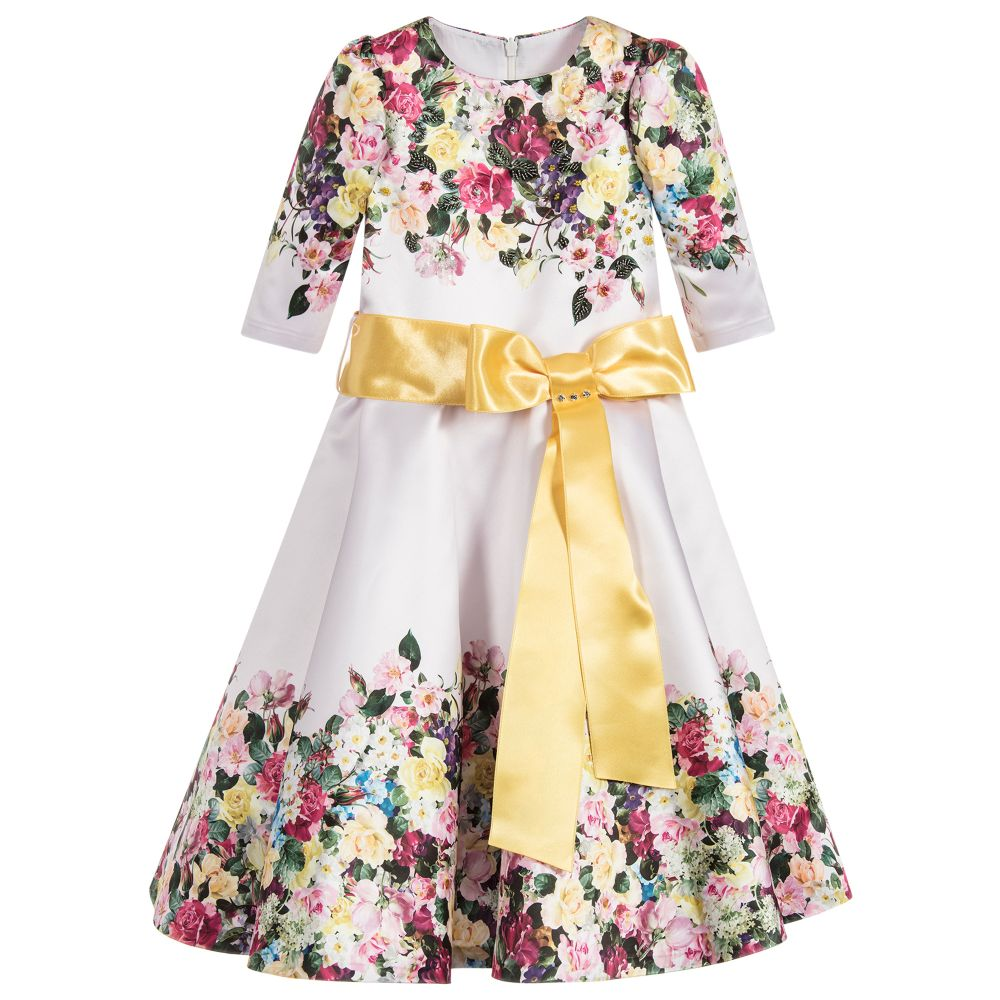 Love Made Love - Pale Pink Floral Satin Dress  | Childrensalon