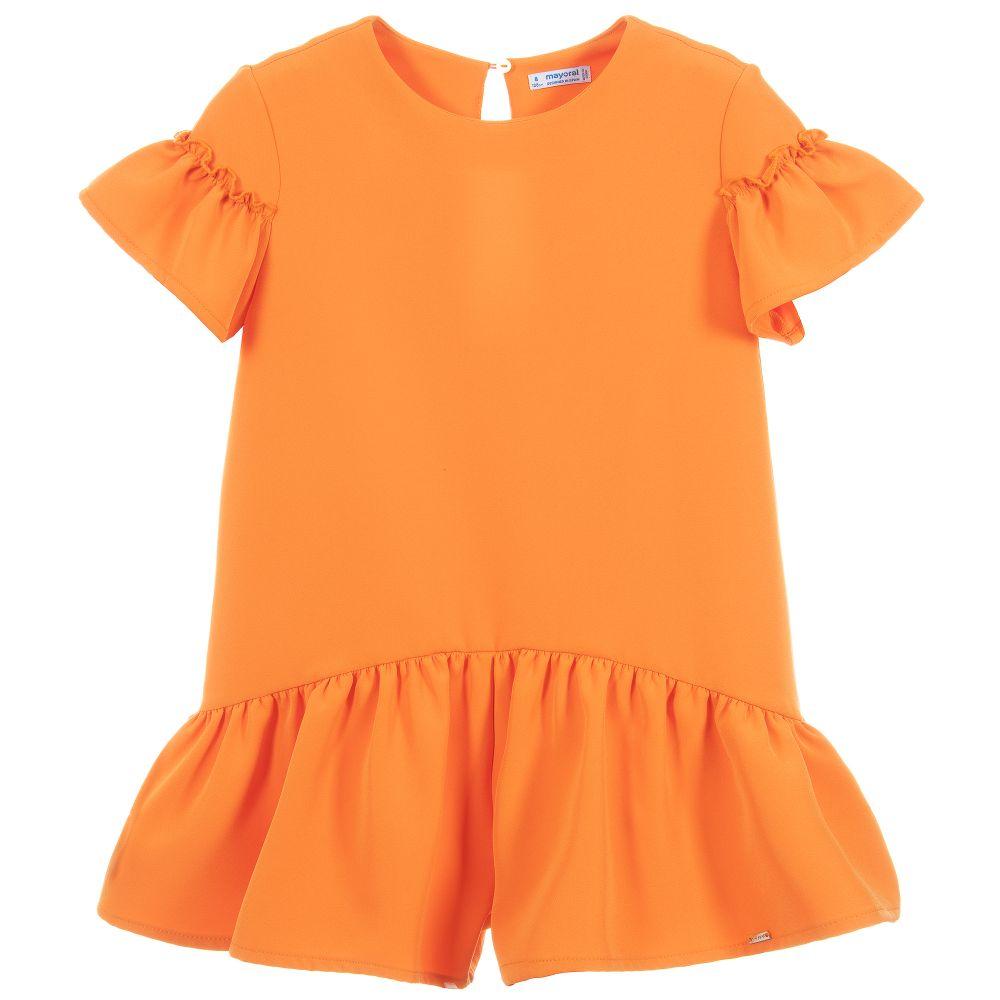 40a9b4775e3 Mayoral - Girls Orange Ruffle Playsuit