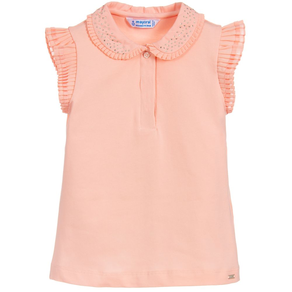 219f32125 Mayoral - Girls Pink Cotton Polo Top